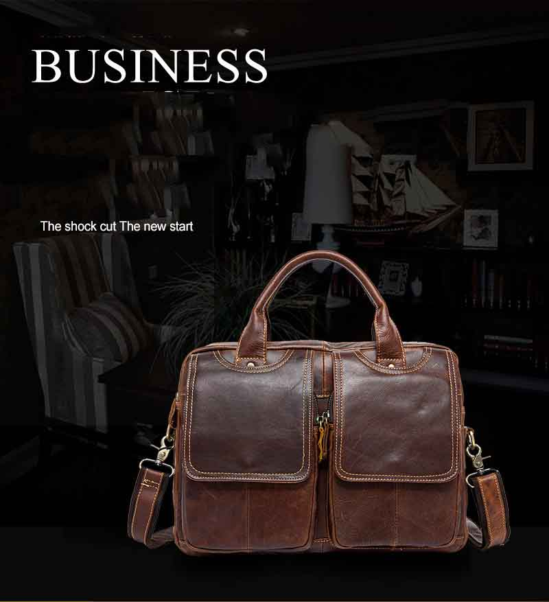 Topdudes.com - Genuine Leather Vintage Business Briefcase