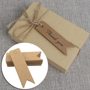 100Pcs Thank You Brown Kraft /black/white Paper Tags Diy Scallop Label Wedding Gift Decorating Tag