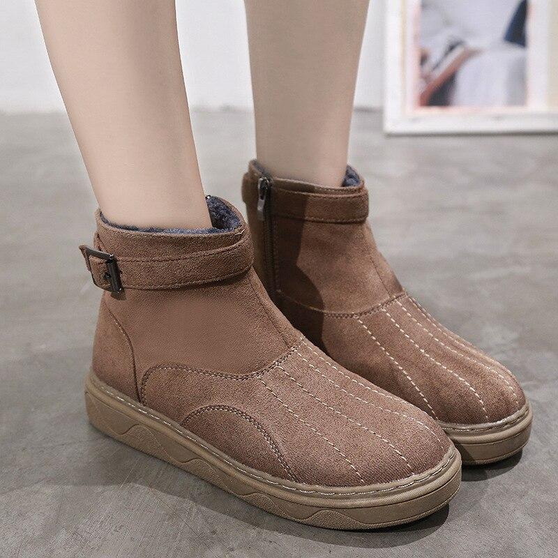 Marrón Tobillo Nieve 2 Acolchado Chelsea Damas 2018 De La Botas Dama Moda Botte Goma Zapatos Para Mujer Invierno Planos 1 q87Fa