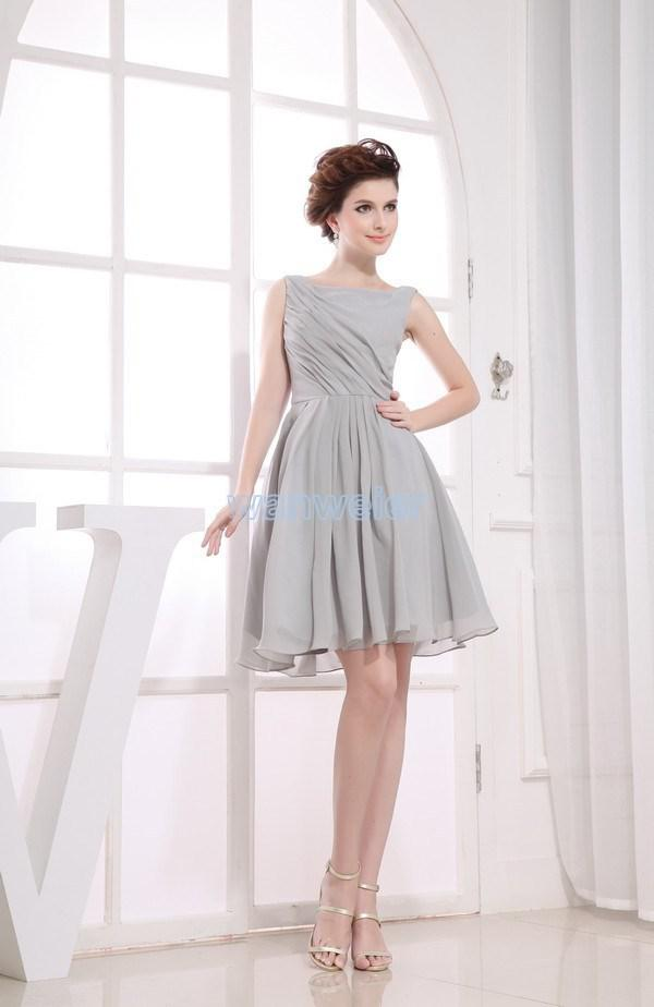 fast shipping in stock cheap high neck prom party gown discount sliver gray chiffon keen length celebrity   bridesmaid     dresses