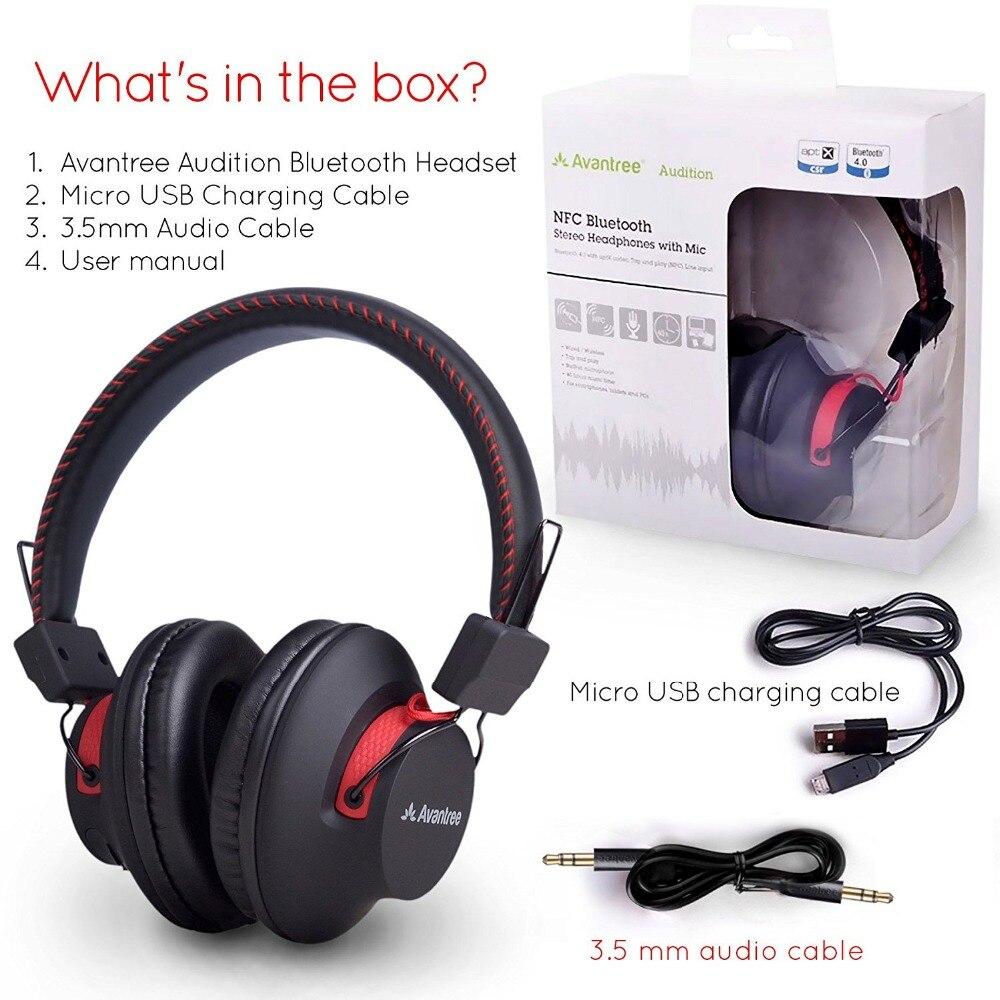 Avantree 40 heures DOUBLE Mode Bluetooth Sur L'oreille Casque avec Mic, Super CONFORTABLE, Sans Fil et Filaire, aptX Salut-fi NFC Casque - 6