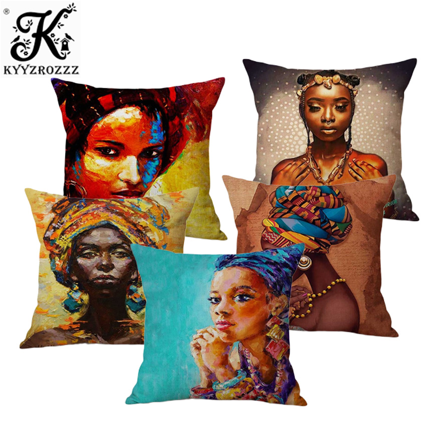 Fashion African Girl Lady Oil Painting Black Women Home Art Decoration Sofa Throw -8459