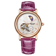 SOLLEN lady automatic mechanical watches hollow female waterproof leather strap round the stars really nail Moon