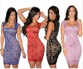 2017 New women lace dress Sexy Bodycon Dresses Square Collar Neck Lace Nude Illusion Vintage Novelty Dress  LC21036