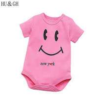 Smiling Face Letter Pattern Bodysuits for Baby Girls Fashion O-neck Kid Short Sleeve Clothes One-Pcs Clothing 2017 Summer