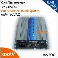 300W 22 60VDC 90 140VAC grid tie indoor inverter working for 30V or 36V solar panel or wind turbine for home use
