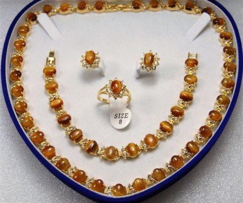 Vente chaude nouveau Style>>>>> femmes de bijoux Oeil de Tigre jaune or Boucle D'oreille Bracelet Collier Anneau