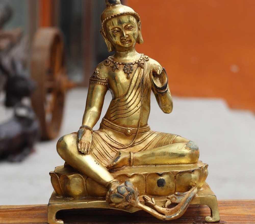 Тибет буддизм бронза Медный позолоченный зеленый богиня Тара Будда Гуаньинь статуя