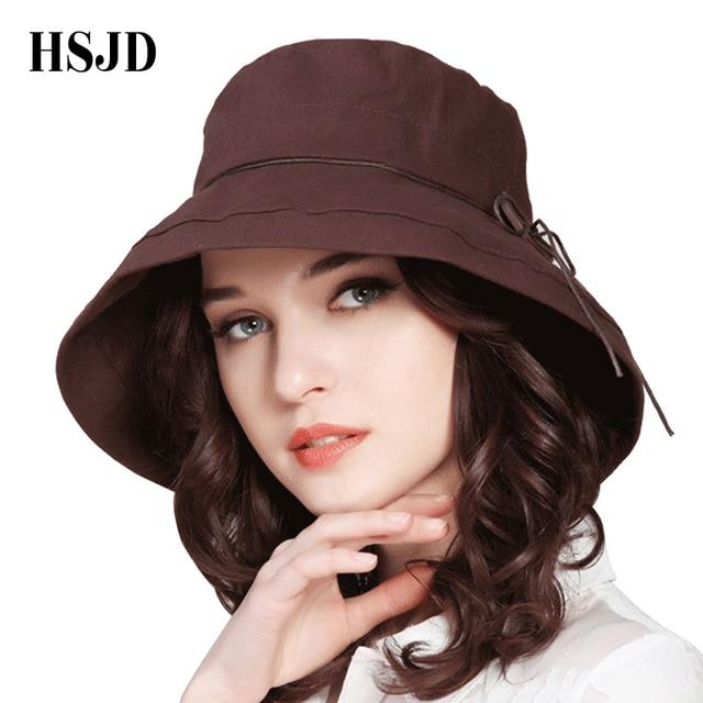 2018 New Brand Women Sun Hat Summer Bucket Hats Fashion Lady Wide Brim  Fedoras Hats With a28771aba0f5