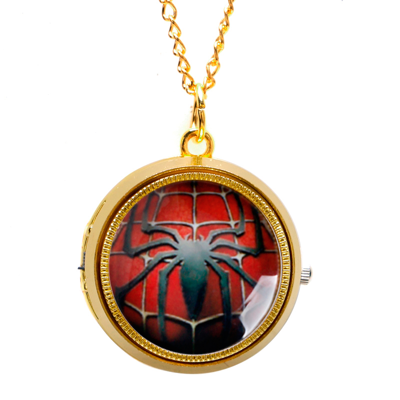 New Design Men Women Spider-Man Quartz Pocket & Fob Watches Round Gold Case Pendant With Chain Rotating
