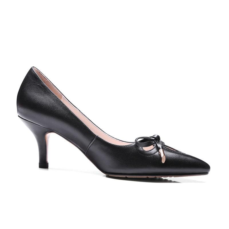 Del Comodidad Bombas Beige Mujer negro Delgado Rosa Arco Nudo Moda Lazy Beige Negro Zapatos rosado Señaló Talón qqHU8S