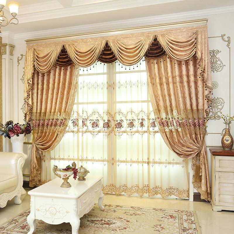 Europäische Luxus-Eleganz Verdunkelungsvorhang für Wohnzimmer-Stickvorhänge für Schlafzimmer-Schattierungs-French Window Kitchen-Stoff