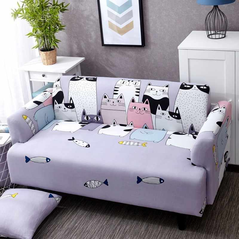 Lovely Cats Spandex Sofa Cover Cute Cats Pattern Sectional Couch Cover All-inclusive Couch Cover Furniture Protector
