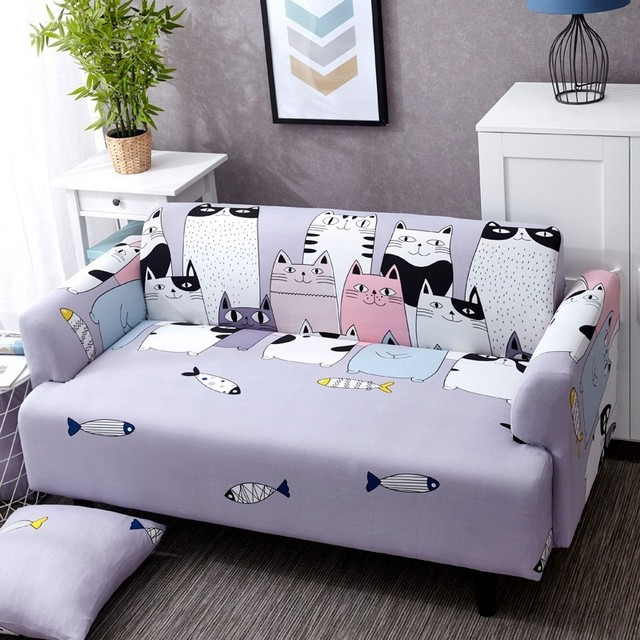 Lovely Cats Spandex Sofa Cover Cute Cats Pattern Sectional Couch