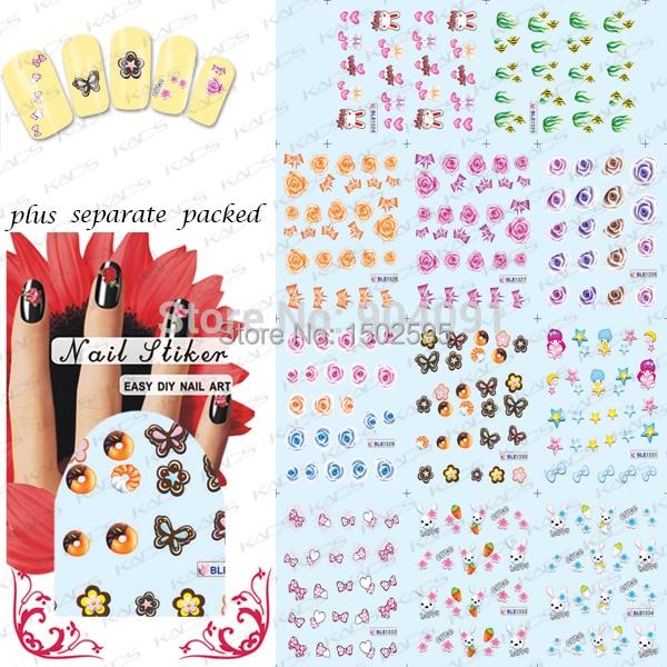 Precioso ETIQUETA ENGOMADA DEL CLAVO de 50 hojas/LOT Nail Art Sticker Decal Flores y Accesorios Etiqueta Engomada Del Clavo de tatuajes de agua + que se Entrega
