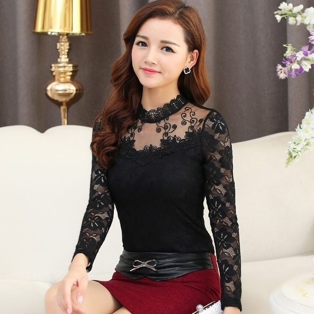Women Sexy Hollow Out Lace Blouses Feminine Casual Blusas Shirt Long Sleeve Stand Collar Floral Tops Plus Size 5XL 3