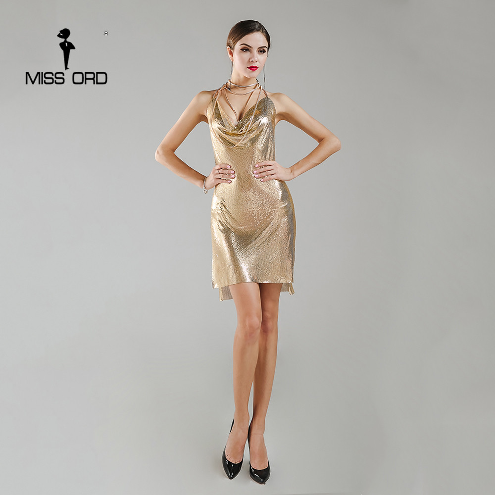 Missord 2020 Sexy sans manches profond-V licou robe fendue nouveau métal tissu noël robe de fête MT4928