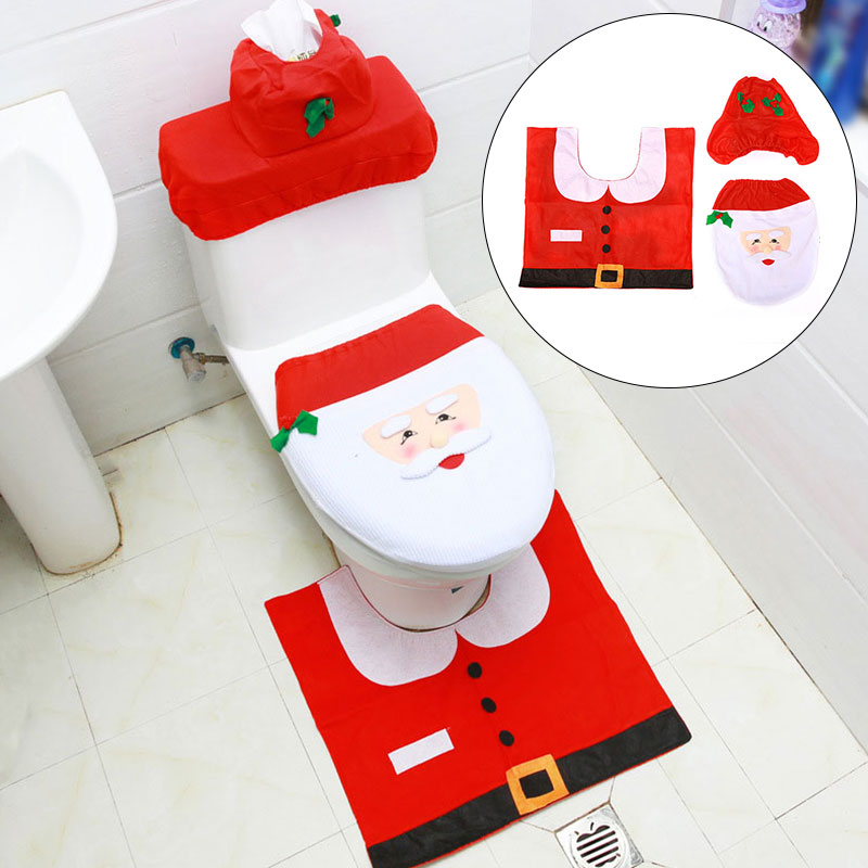 3pcsset Happy Fancy Santa Claus Toilet Foot Pad Seat Cover Cap Christmas Decorations Toilet Seat Cover and Rug Bathroom Set