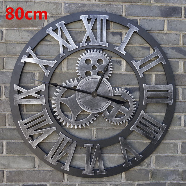 80CM Large Wall Clock Saat 3d Gear Clock Wooden Duvar Saati Wall