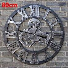 80CM Large Wall Clock Saat 3d Gear Clock Wooden Duvar Saati Wall Watch Reloj Pared Relogio de Parede Horloge Murale Home decor