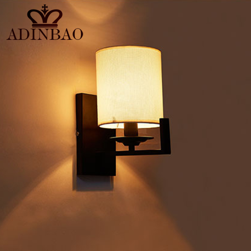 Modern Led Wall Light Black Iron Mount Lamp With Fabric Lampshade Bedroom Sconce For Reading