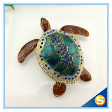 Sea Turtle Crystal Studded Pewter Jewelry Trinket Box(Random Color)