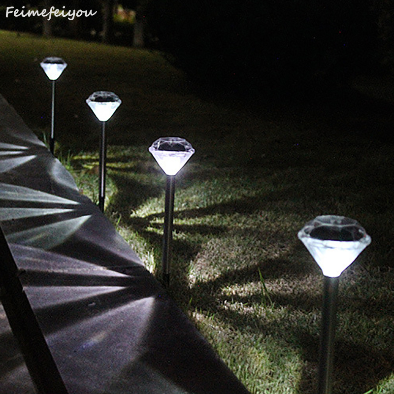 Feimefeiyou 8pcs/lot Solar Power LED Stainless Steel Landscape Lamps Outdoor Garden Path Lawn Lamp Straight Diamond Light