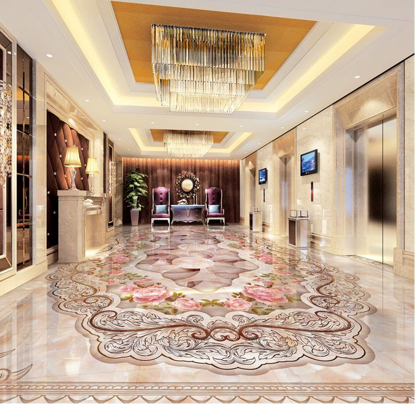 ФОТО Custom 3d floor murals marble mosaic texture 3d floor living room sticker pvc flooring roll