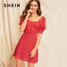 SHEIN Lady Red Sweetheart Square Neck Ruffle Trim Polka Dot Dress Summer Casual High Waist Puff Sleeve A Line Mini Dress