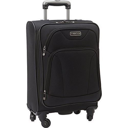 Heritage Travelware 882685 20 in. Wicker Park 4 Wheel Upright Carry-On Luggage Bag with Two Outside Accessory Pockets - Black loafers slip on women s flat shoes casual flats women driving comfortable shoes round toe leopard shoes female shallow plus size