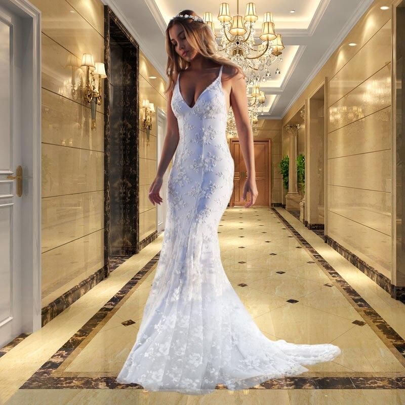 Nfashion Mermaid Lace Slim Line Long Reception Dresses Party Evening Gowns V-neck Condole Belt Dinner Dress Evening Dresses High Quality Materials Evening Dresses