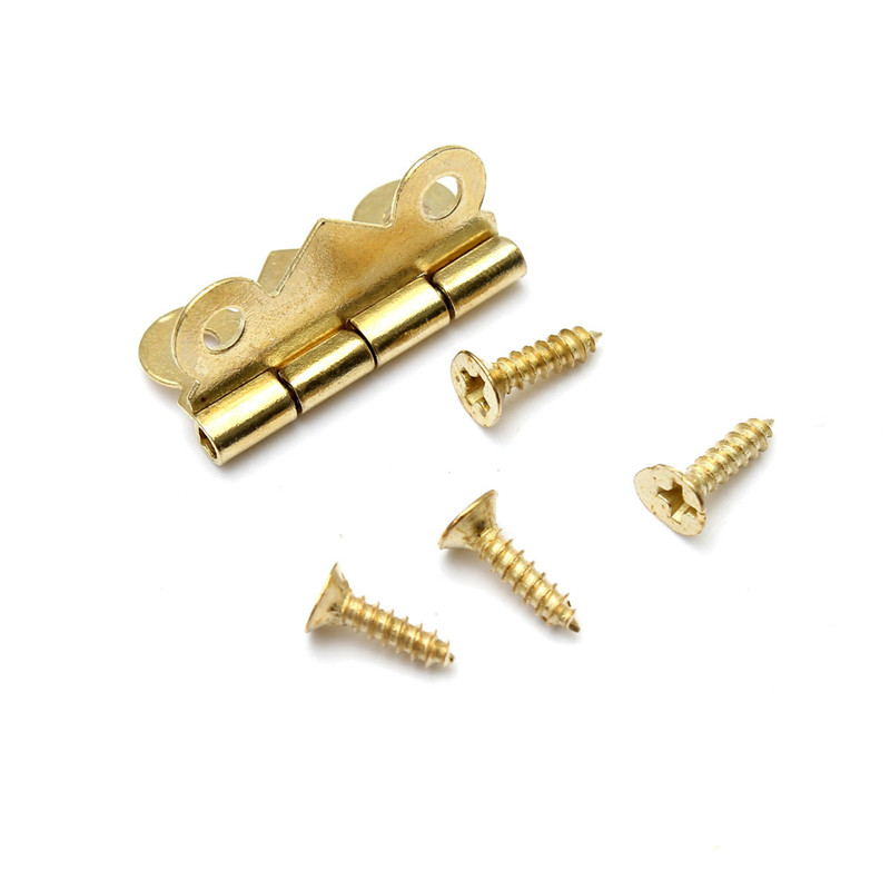 10 PCS 0.9 x 0.75 Inch Iron Brass Color Mini Butterfly Hinges Bisagra Cabinet Drawer Jewelry Box DIY Repair
