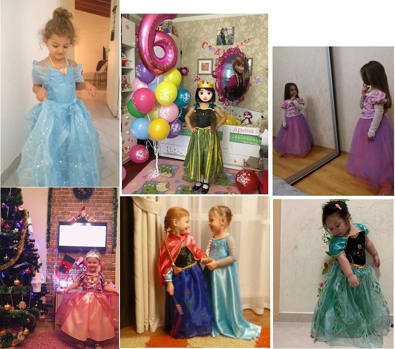 HTB1dsZTJXYqK1RjSZLeq6zXppXaK Send crown Baby Girls Dress Christmas Anna Elsa Cosplay Costume Summer Girl Princess Dress for Birthday Party Vestidos Menina