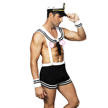 Men Sailor Uniform Costume Sexy Hot Gay Clubwear Exotic Lingerie With Jumpsuit Hat Wristband Role Play Underwear 6613