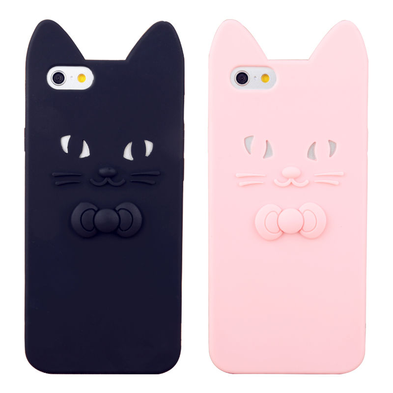 Cute Candy Colors 3D Bow Tie Cat Ears Phone Cases for
