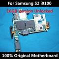 Oficial original do telefone desbloqueado mainboard motherboard 100% trabalho para samaung galaxy s2 i9100 com fichas completas placa lógica