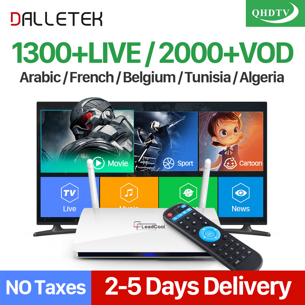 IPTV French LEADCOOL Smart Android TV Box Dalletektv QHDTV IPTV 1 Year Subscription 1300+ IPTV Europe Belgium Arabic IPTV Box smart iptv box quad core android tv box 1g 8g with arabic iptv europe iptv subscription 1 year qhdtv iudtv account media player