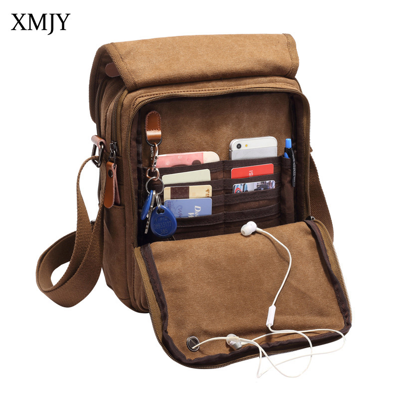 XMJY Men Canvas Shoulder Bags Vintage Solid Crossbody Totes Stylish Casual Square Zipper Travel School Messenger Pad Phone Bag g favor 2018 canvas leather crossbody bag men military army vintage messenger bags shoulder bag casual travel school bags
