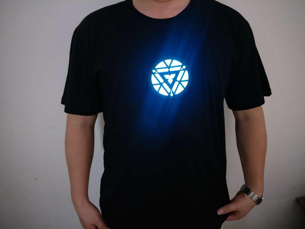 Iron Man Arc Reactor Tony Stark Avengers Thor Hulk Led Sound-activated Tee T-shirt LED Light O-neck Short-sleeved T-Shirt 2019