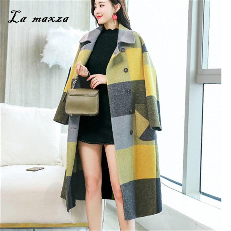 9680664d501fa Femmes 2018 Long Laine Style Manteau Coréenne Lâche Manteaux Mode D hiver  Plaid Vintage 441qrg