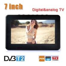 Mode 7 pouces 16:9 HD TFT DVBT2/DVBT numérique et analogique Mini led Portable voiture TV tout en 1 Support USB programme TV