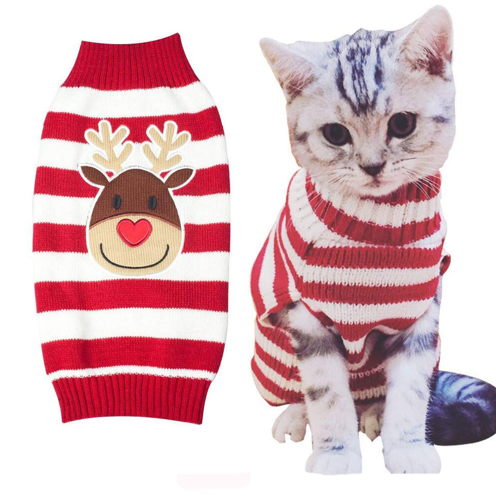 Cat Kitten Knit Sweater Pet Dog Warm Winter Christmas Sweaters ...