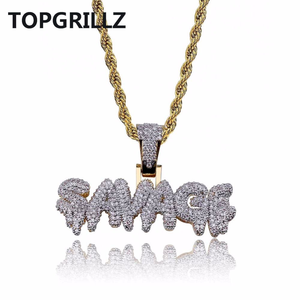 TOPGRILLZ Hip Hop Necklace Brass Gold Color Iced Out Micro Pave Cubic Zircon SAVAGE Pendant Necklace Charm For Men Gifts