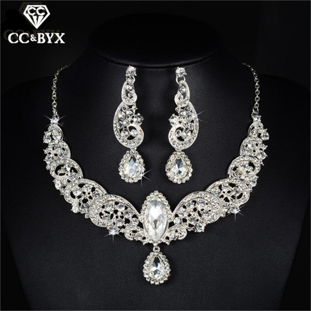 Beautiful Water Drop Fine Cz Necklace Earrings Sets For Women Bridal Jewelry Set Wedding Bijoux Femme