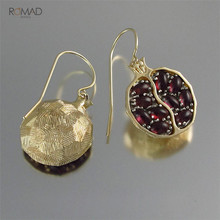 Romad Natural Red Garnet Earrings Vintage Gold Color CZ Stone Dangle Drop  For Woman Girl Gift