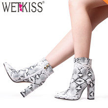WETKISS High Heels Ankle Boots Women Sexy Snake Skin Booties Winter Shoes Female Pointed Toe Shoes Ladies Zip Party Shoes 2020(China)