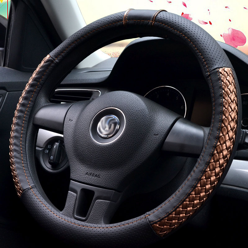 Car Steering wheel cover universal Braid cover on steering wheel diameter 37/38cm For bmw e46 e90 g30 lancer x rav4 Ford mazda 3 carbon fiber vinyl leather car steering wheel cover fit for bmw e36 e46 e60 e90 38cm carbon wheel cover interior accessories