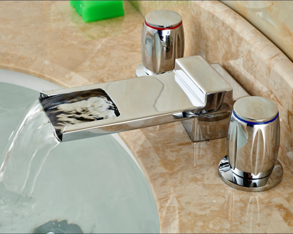 цена на Bathroom Waterfall Spout Deck Mounted Chrome Sink Basin Faucet Mixer Tap Ewo Handles