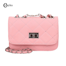 CUMYKA New Fashion Women Bag Small Chain Mini Shoulder Casual Candy Color Messenger Crossbody Bags Solid Ladies PU Flap