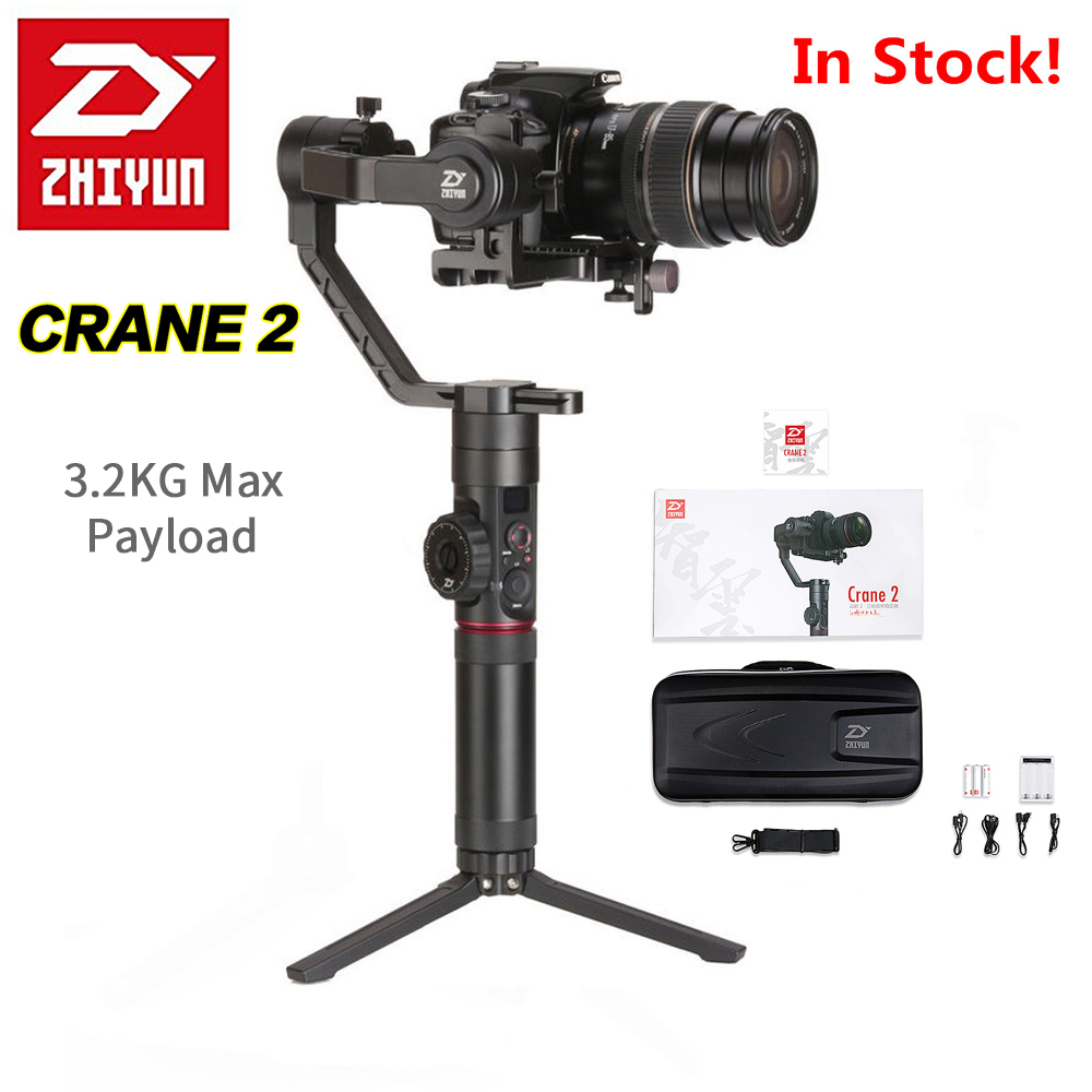 In Stock 2017 Zhiyun Crane 2 3-Axis Handheld Gimbal Stabilizer with Follow Focus 3.2Kg Payload OLED Display 18hrs Long Runtime yuneec q500 typhoon quadcopter handheld cgo steadygrip gimbal black